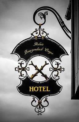 Hotel Sign In Bruges Print by Wim Lanclus