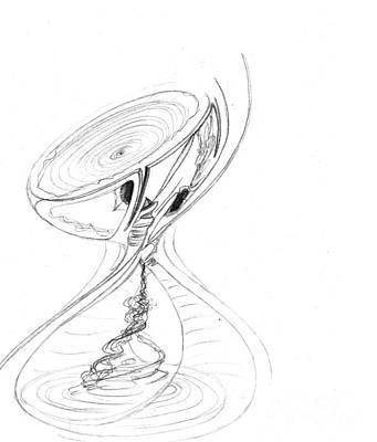 Hourglass Drawing - Hourglass. October, 2010 by Tatiana Chernyavskaya