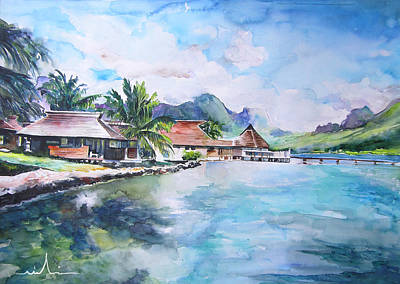 House By The Lagoon In French Polynesia Print by Miki De Goodaboom