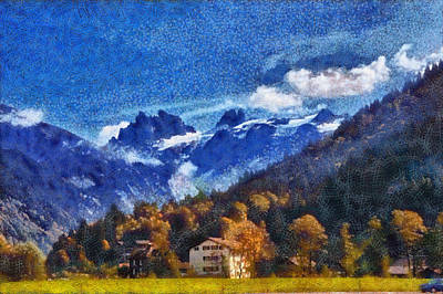 House In The Swiss Alps Print by Ashish Agarwal