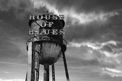 House Of Blues B/w Print by Laura Fasulo