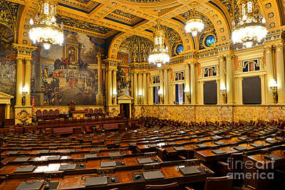 House Of Representatives Chamber In Harrisburg Pa Print by Olivier Le Queinec