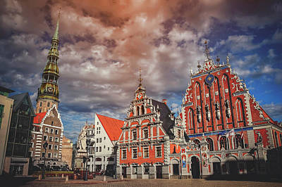 Town Square Photograph - House Of The Blackheads In Riga Latvia  by Carol Japp