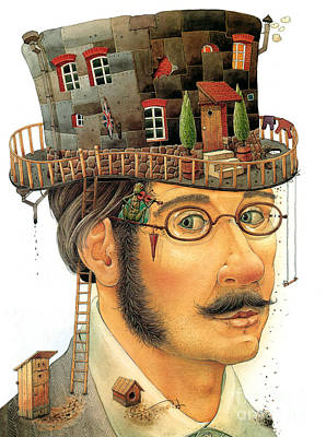 Hat Drawing - House On The Hat by Kestutis Kasparavicius