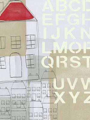 House Plans 2- Art By Linda Woods Print by Linda Woods