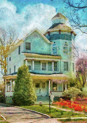 Suburban Digital Art - House - The Lookout by Mike Savad