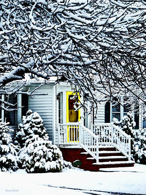 House With Yellow Door In Winter Print by Susan Savad