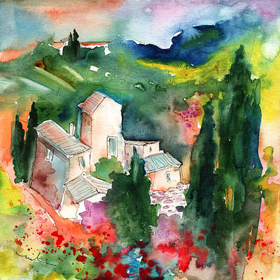 Poppies Drawing - Houses In Montepulciano In Tuscany 01 by Miki De Goodaboom