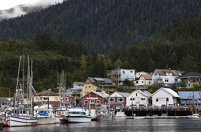 Houses Line Ketchikan Harbor Print by Melissa Farlow