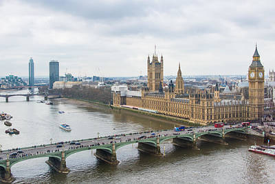 Big Ben Photograph - Houses Of Parliament And The Westminster Bridge As Seen From The London Eye by AMB Fine Art Photography
