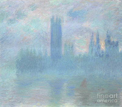 Fog Painting - Houses Of Parliament  London by Claude Monet