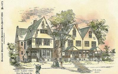 Cincinnati Ohio Painting - Houses On Locust Street Walnut Hills Cincinnati Ohio 1888 by SE DesJardins