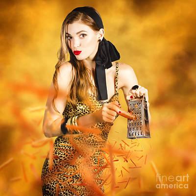 Carrot Digital Art - Housewife Grating Carrots by Jorgo Photography - Wall Art Gallery