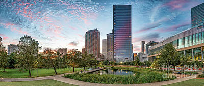 Sunsets Photograph - Houston Downtown Cityscape Pano by Tod and Cynthia Grubbs