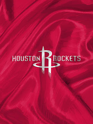 Red Digital Art - Houston Rockets by Afterdarkness