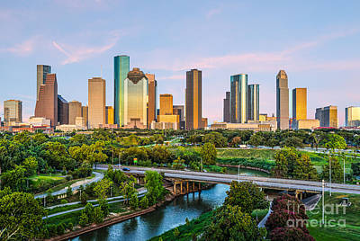 Houston Skyline At Dusk Print by Tod and Cynthia Grubbs