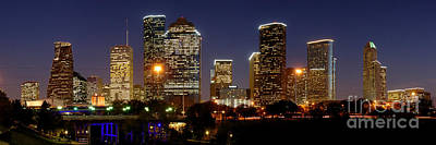 Texas Photograph - Houston Skyline At Night by Jon Holiday