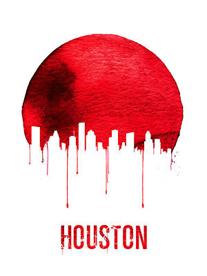 Houston Skyline Red Print by Naxart Studio