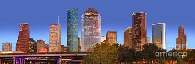 Houston Texas Skyline At Dusk Print by Jon Holiday