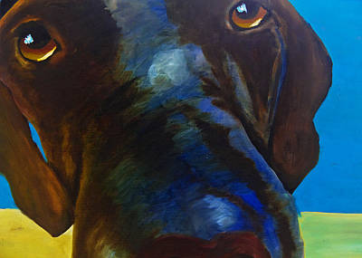 Chocolate Labrador Retriever Painting - How Can You Resist by Roger Wedegis