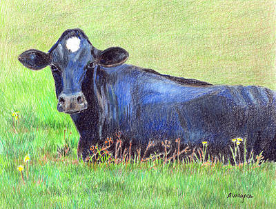 Colored Pencil Drawing - How Now Blue Cow by Arline Wagner