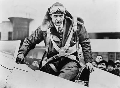 Aviator Print featuring the photograph Howard Hughes Emerging From An Airplane by Everett
