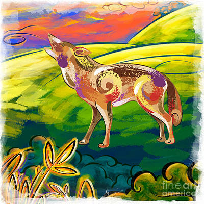 Loud Mixed Media - Howling Coyote  by Bedros Awak