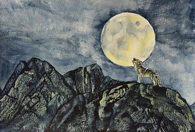 Wolf Watercolor Painting - Howling Wolf by Linda Brody
