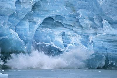 Hubbard Glacier Calving Chunks Of Ice Print by Michael Melford