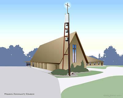 Hudson Community Church Print by Greg Joens