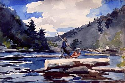 Logging Painting - Hudson River - Logging by Mountain Dreams