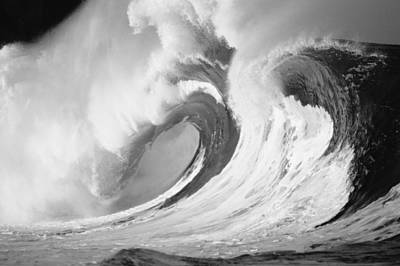 Turbulent Skies Photograph - Huge Curling Wave - Bw by Ali ONeal - Printscapes