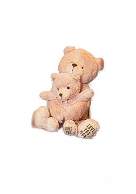 Hugging Bears Cut Out Print by Linda Phelps