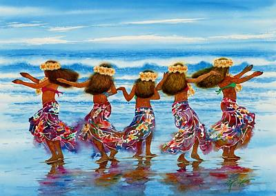 Hula Girl Art Painting - Hula Dancers 2 by John YATO