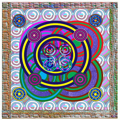 Rights Managed Images Mixed Media - Hula Hoop Circles Tubes Girls Games Abstract Colorful Wallart Interior Decorations Artwork By Navinj by Navin Joshi