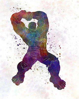 Hulk 02 In Watercolor Print by Pablo Romero