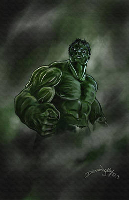 The Avengers Painting - Hulk by Darren Jolly