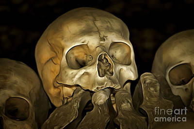 Trembling Digital Art - Human Skull And Bones by Michal Boubin