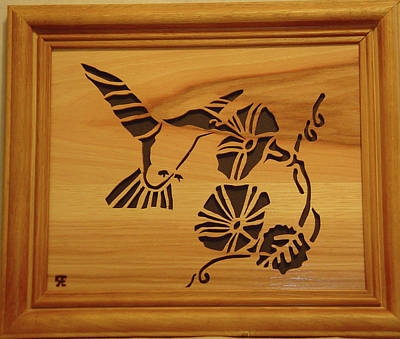 Scroll Saw Sculpture - Humming Bird And Flower by Russell Ellingsworth
