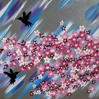 Wall Hanging Drawing - Humming Birds And Sakura by Cathy Jacobs