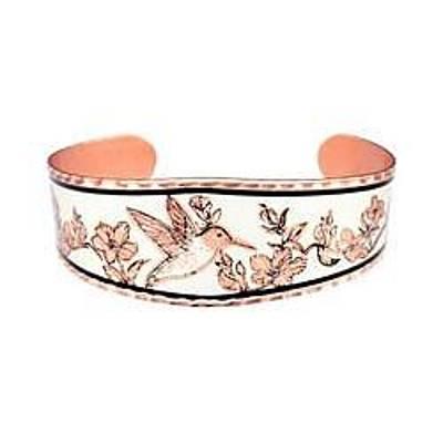 Hummingbird And Flowers Copper Bracelet Original by Raven SiJohn