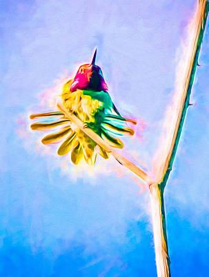 Iridescent Mixed Media - Hummingbird Art - Energy Glow by Priya Ghose