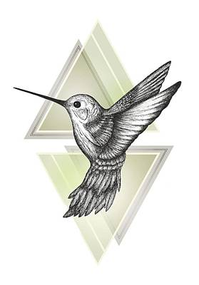 Animals Drawing - Hummingbird by Barlena