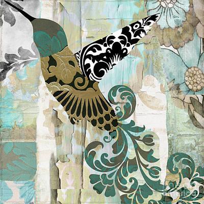 Batik Painting - Hummingbird Batik by Mindy Sommers