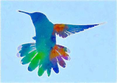 Hummingbird Digital Art - Hummingbird Blue by Amy G Taylor