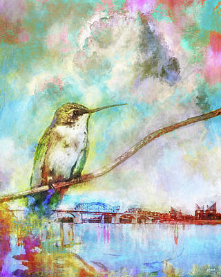 Hummingbird By The Chattanooga Riverfront Print by Steven Llorca