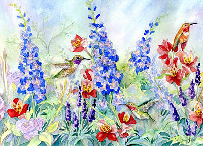 Delphinium Painting - Hummingbird Garden In Spring by Audrey Jeanne Roberts