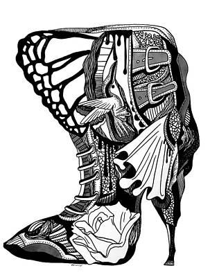 Drawing - Hummingbird High Heel by Kenal Louis