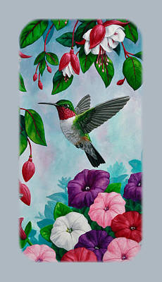 Hummingbird Phone Case V Print by Crista Forest