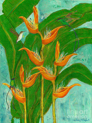 Heliconia Painting - Jamaican One Heart Hummingbirds With Heliconia by Beverley Douglas